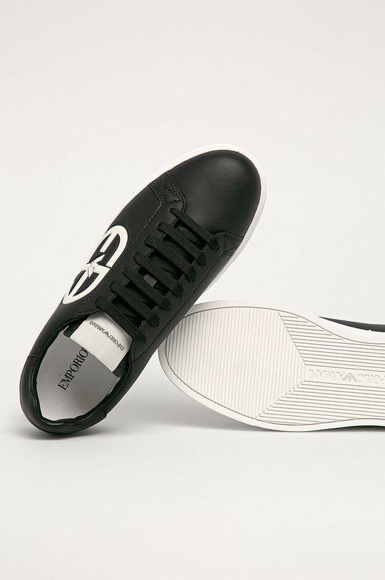 černá Emporio Armani - Kožené boty