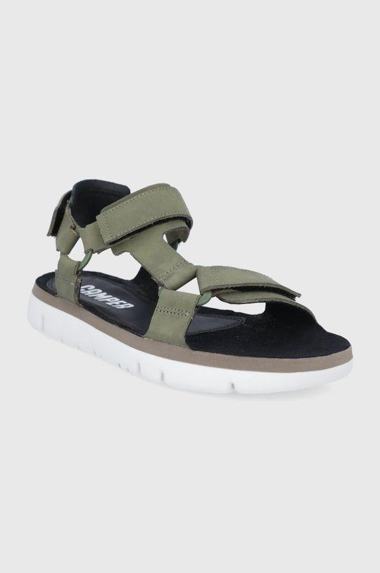 Camper - Kožené sandále Oruga olivová