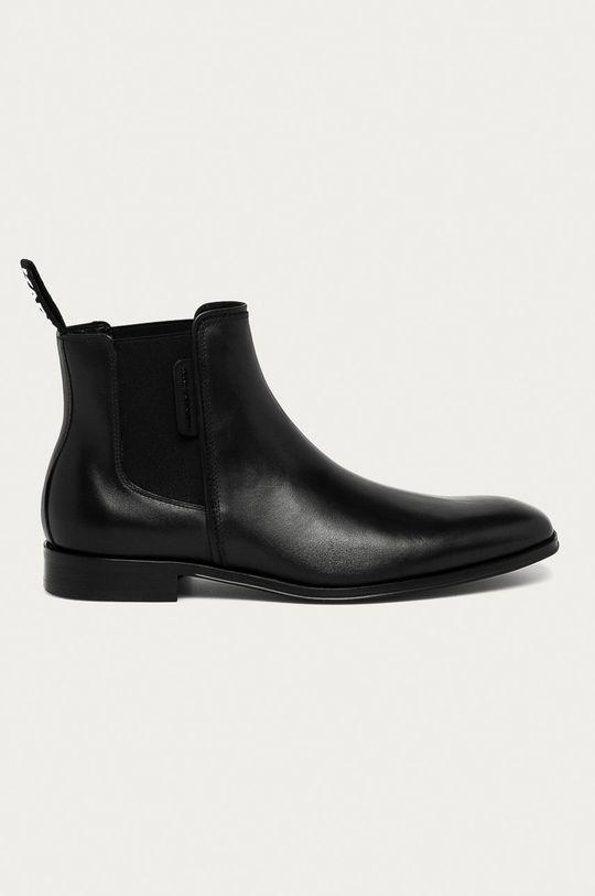 černá Karl Lagerfeld - Kožené kotníkové boty Pánský