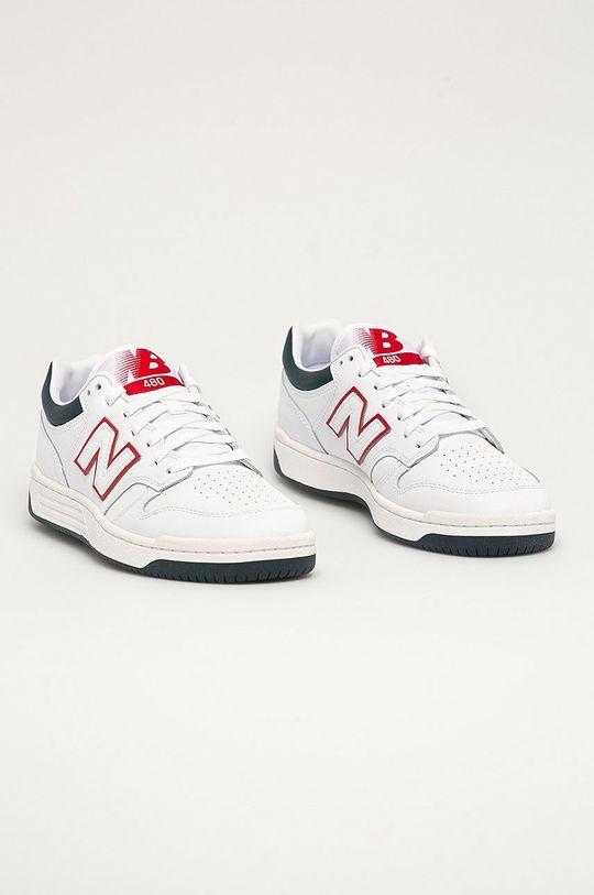 New Balance - Kožená obuv BB480LWG biela