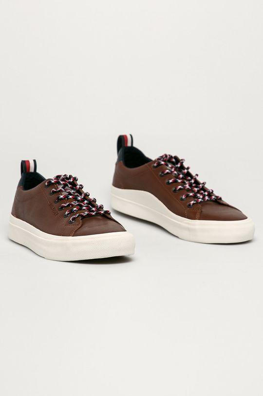 Tommy Hilfiger - Kožená obuv hnedá