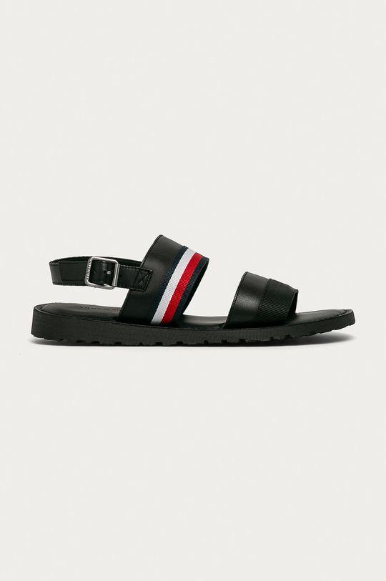 černá Tommy Hilfiger - Kožené sandály Pánský