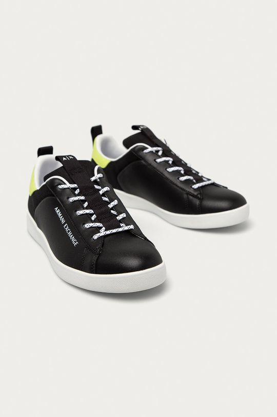 Armani Exchange - Kožené boty černá
