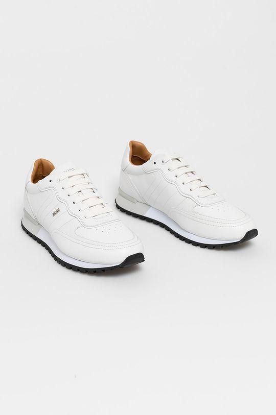 Boss - Kožené boty bílá