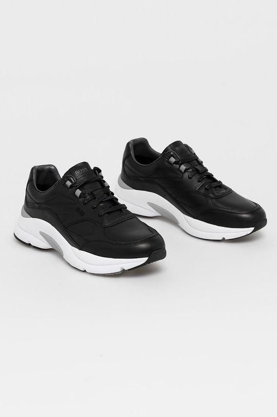 Boss - Kožené boty černá