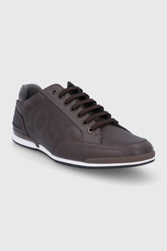 Boss - Kožená obuv hnedá