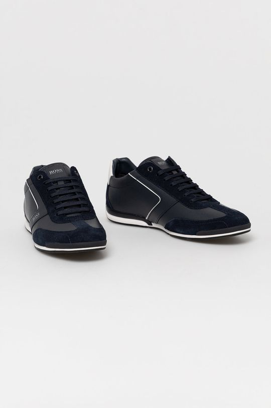 Boss - Kožená obuv tmavomodrá