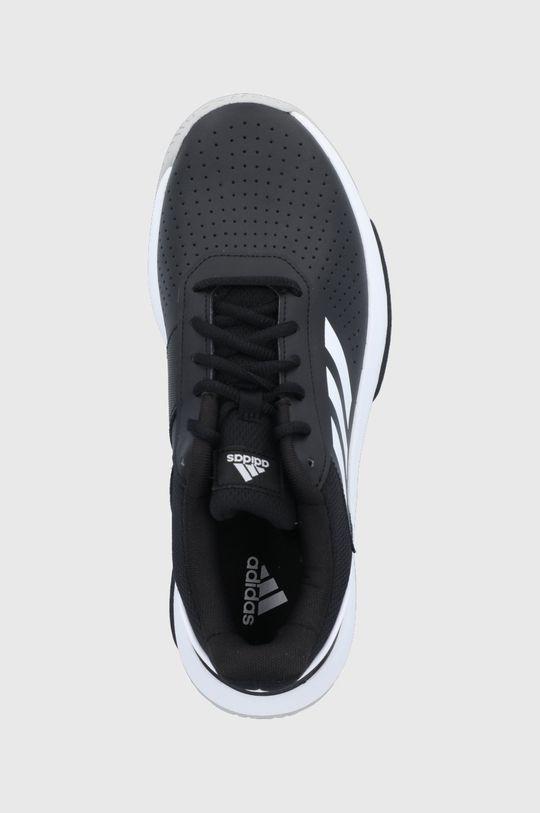 czarny adidas - Buty skórzane Courtsmash