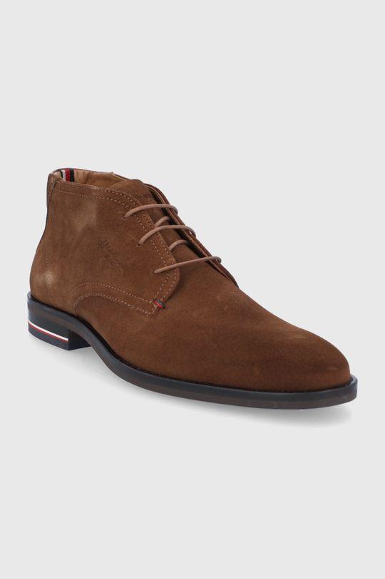 Tommy Hilfiger - Semišové boty hnědá