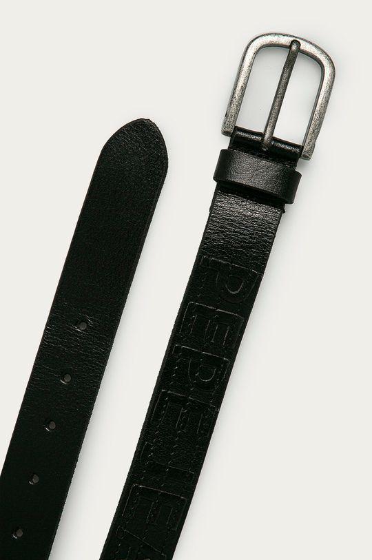 Pepe Jeans - Kožený opasok Namibia čierna