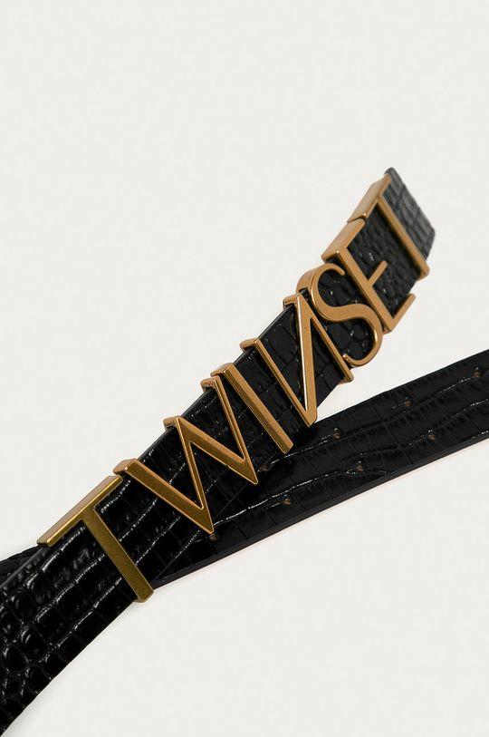 Twinset - Kožený opasok čierna