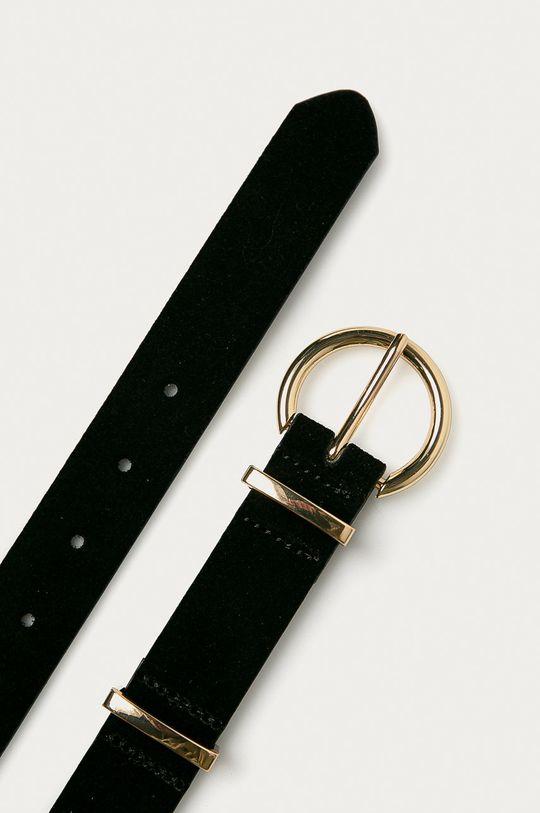 Pieces - Kožený pásek černá