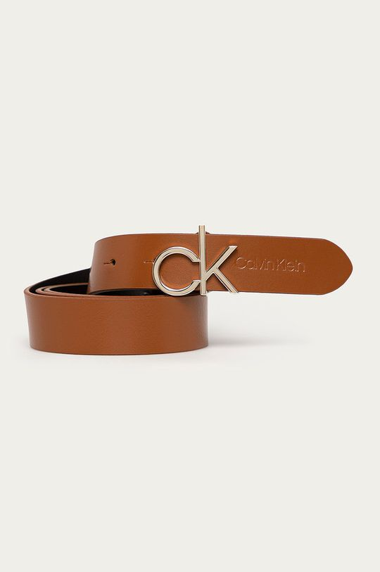 złoty brąz Calvin Klein - Pasek skórzany Damski