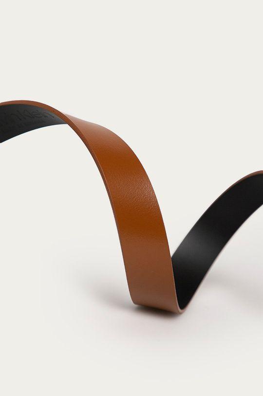 Calvin Klein - Pasek skórzany złoty brąz
