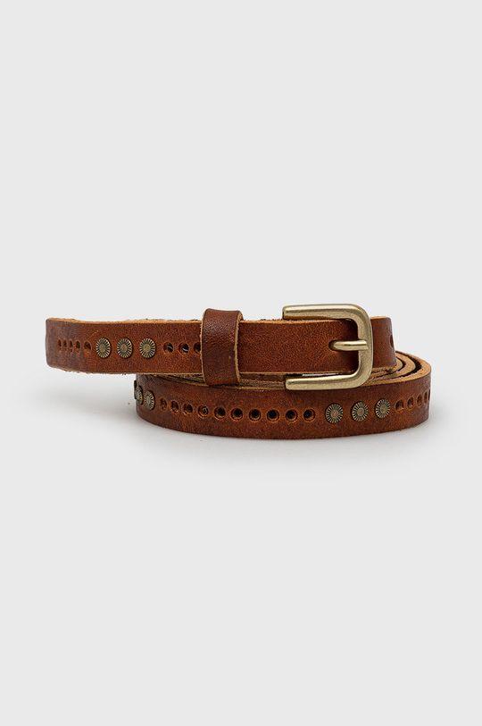 brązowy Sisley - Pasek skórzany Damski