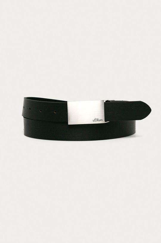 černá s. Oliver - Kožený pásek Pánský