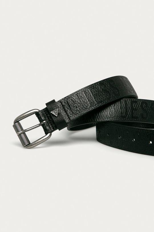 Guess - Kožený opasok čierna