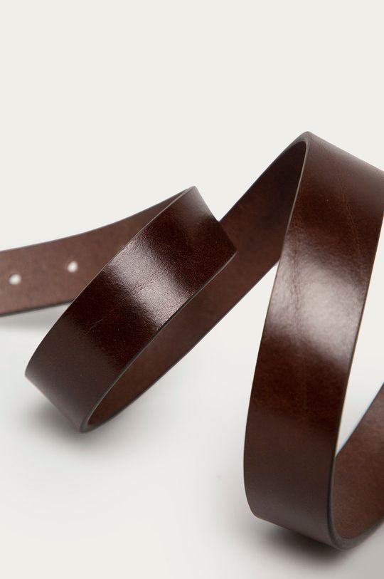 Guess - Pasek skórzany ciemny brązowy