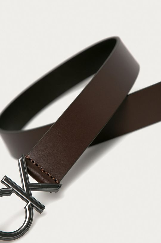 Calvin Klein - Pasek skórzany brązowy
