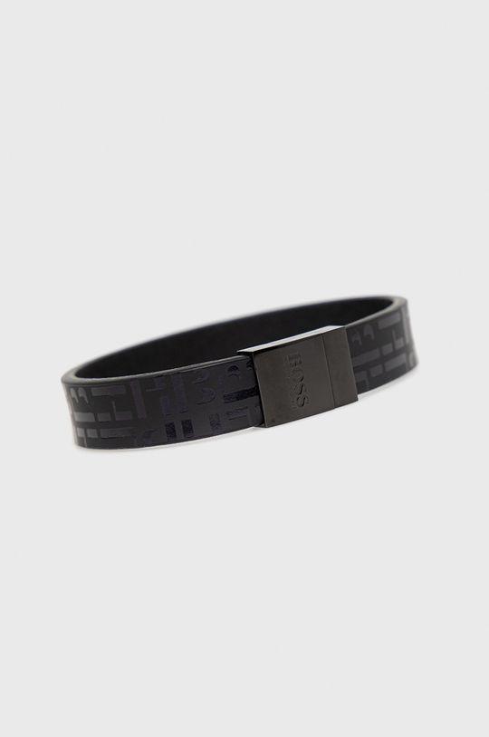 Boss - Kožený náramek černá