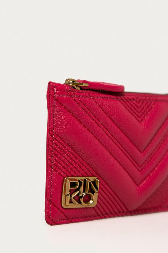 Pinko - Kožená peňaženka ružovo-červená