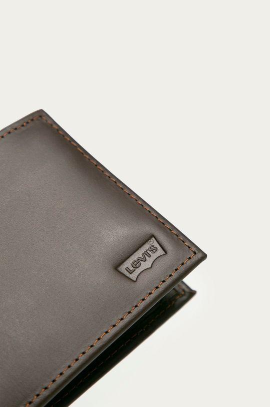 Levi's - Kožená peňaženka tmavohnedá