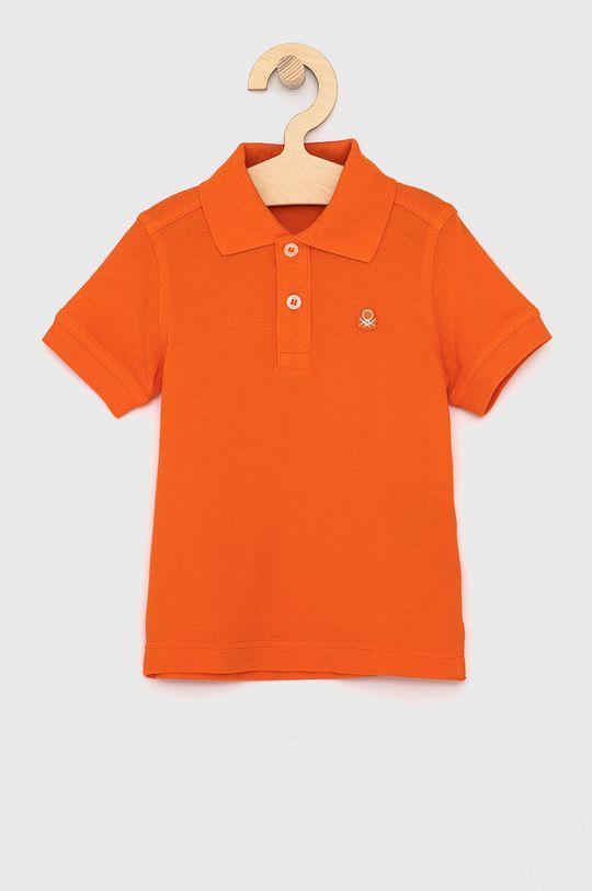 mandarinková United Colors of Benetton - Dětské polo tričko Chlapecký