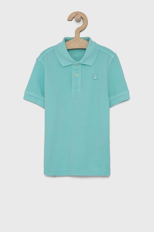 tyrkysová United Colors of Benetton - Dětské polo tričko Chlapecký