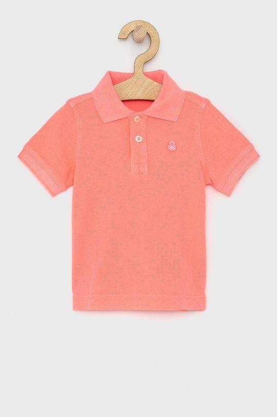 ostrá růžová United Colors of Benetton - Dětské polo tričko Chlapecký