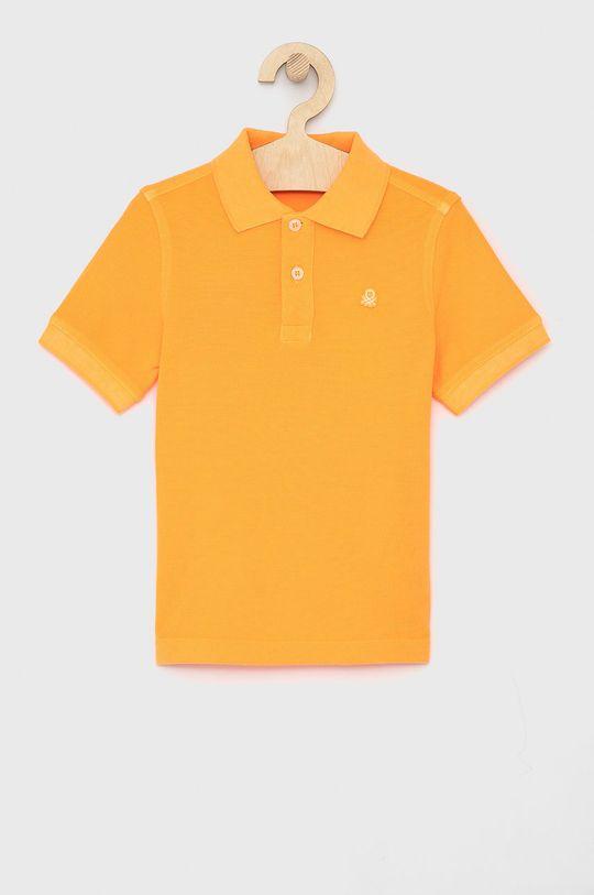 oranžová United Colors of Benetton - Dětské polo tričko Chlapecký