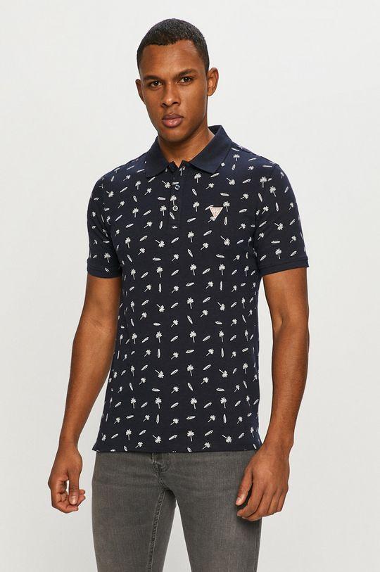 tmavomodrá Guess - Polo tričko Pánsky