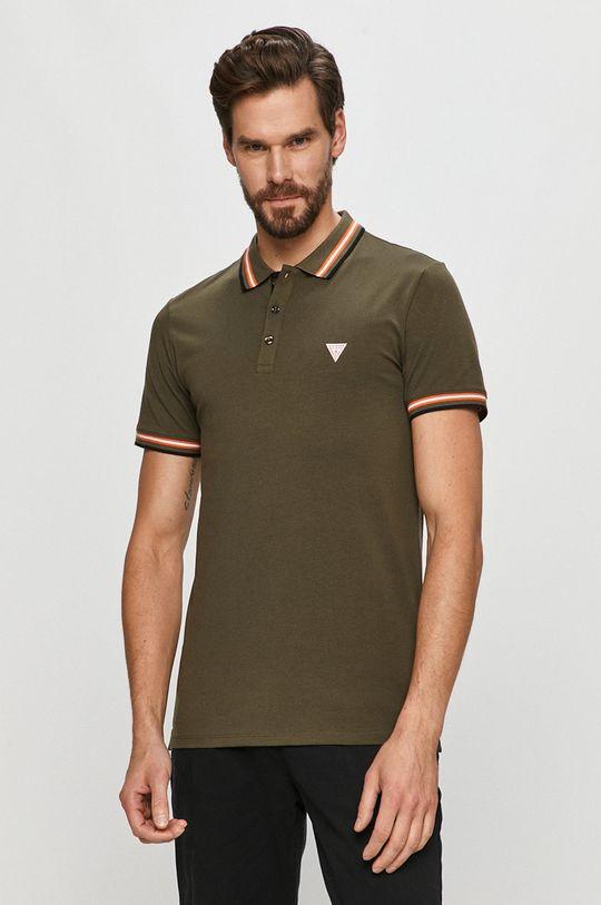 olivová Guess - Polo tričko Pánský