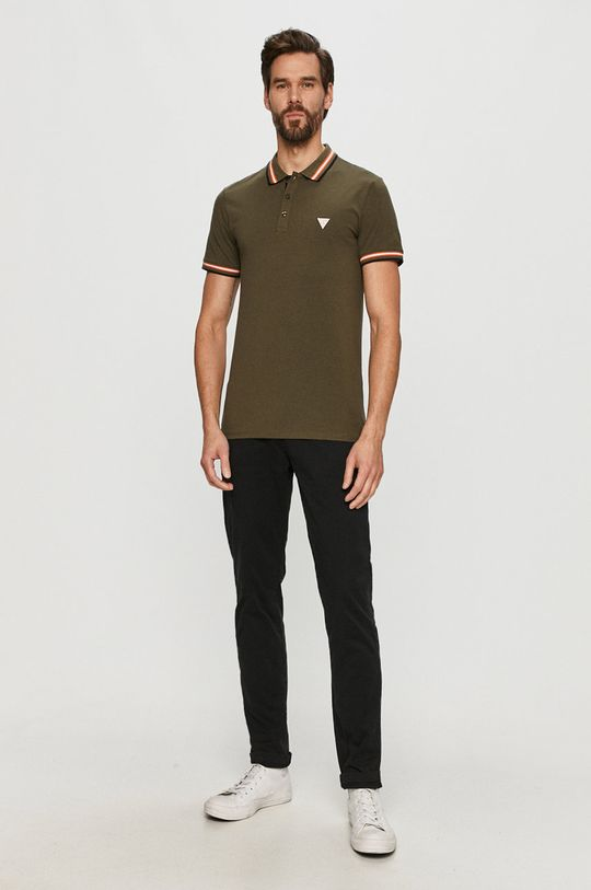 Guess - Polo tričko olivová