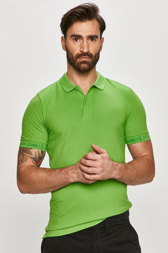 zelená Calvin Klein Jeans - Polo tričko Pánsky