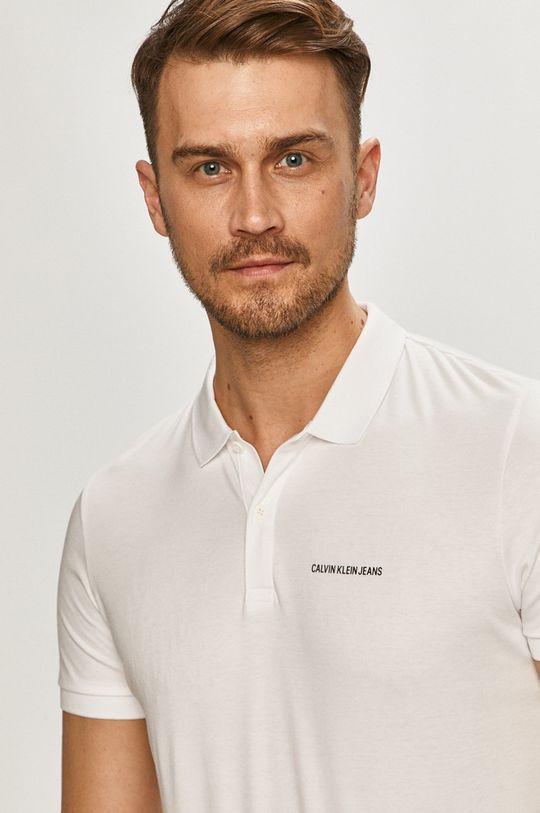 bílá Calvin Klein Jeans - Polo tričko Pánský
