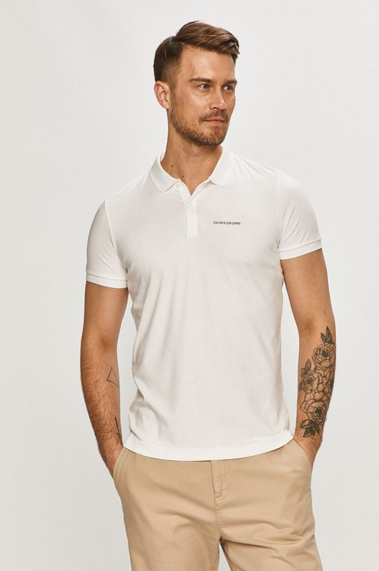 bílá Calvin Klein Jeans - Polo tričko