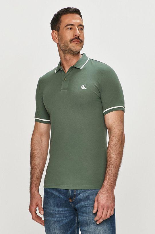 brudny zielony Calvin Klein Jeans - Polo Męski