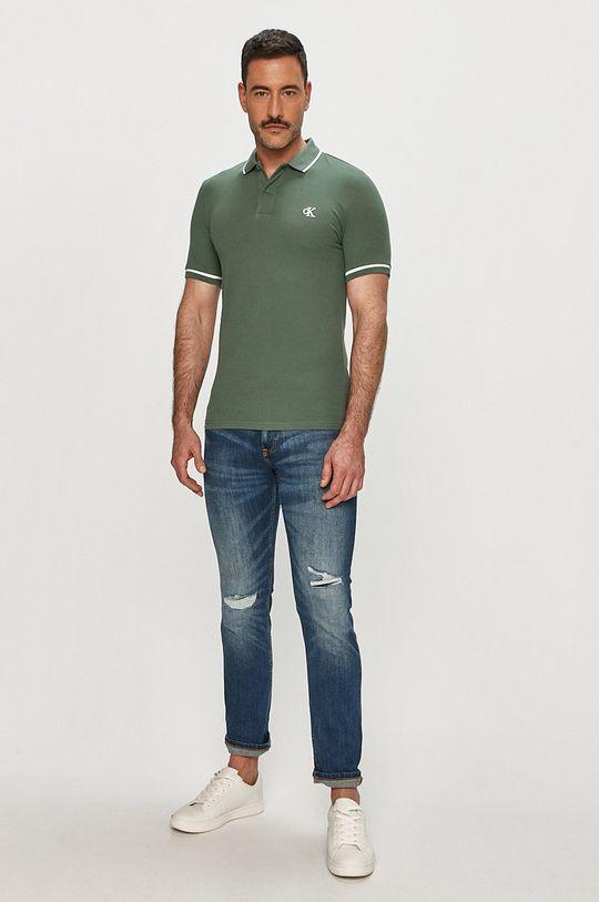 Calvin Klein Jeans - Polo brudny zielony