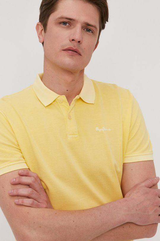 žltá Pepe Jeans - Polo tričko Vincent Pánsky