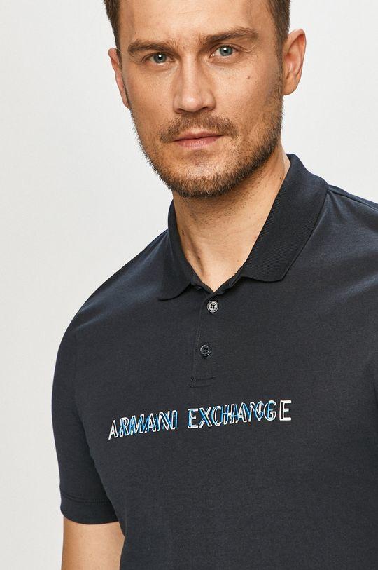 tmavomodrá Armani Exchange - Polo tričko Pánsky