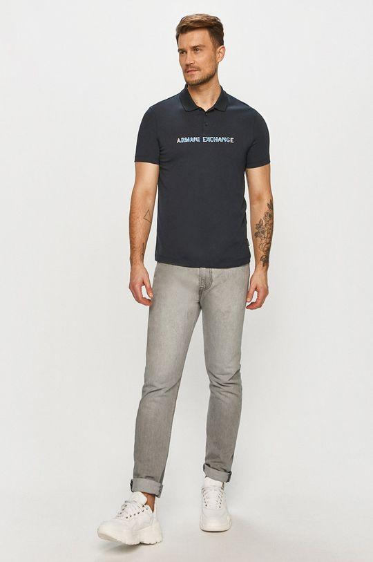 Armani Exchange - Polo tričko tmavomodrá