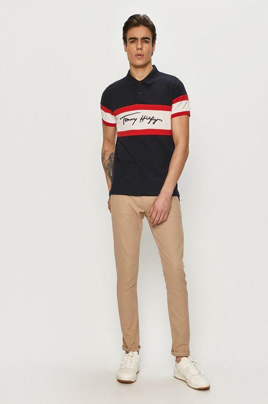 Tommy Hilfiger - Тениска с яка тъмносин