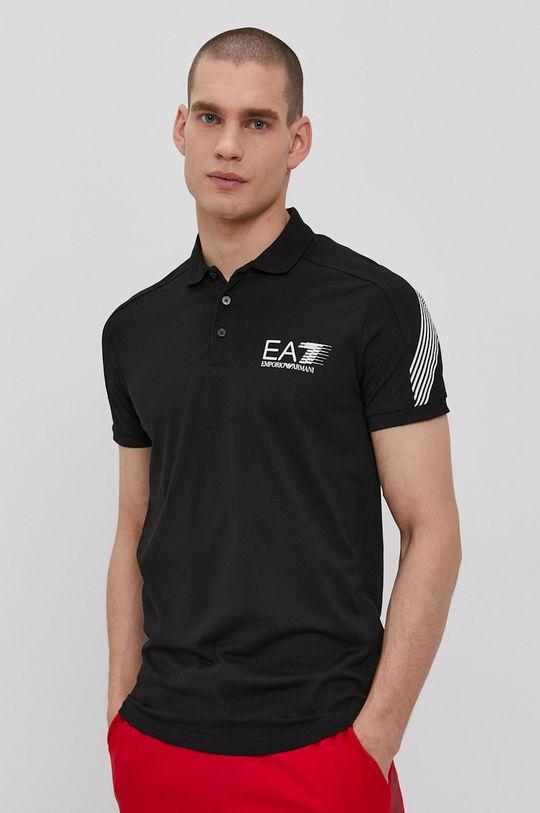 čierna EA7 Emporio Armani - Polo tričko Pánsky