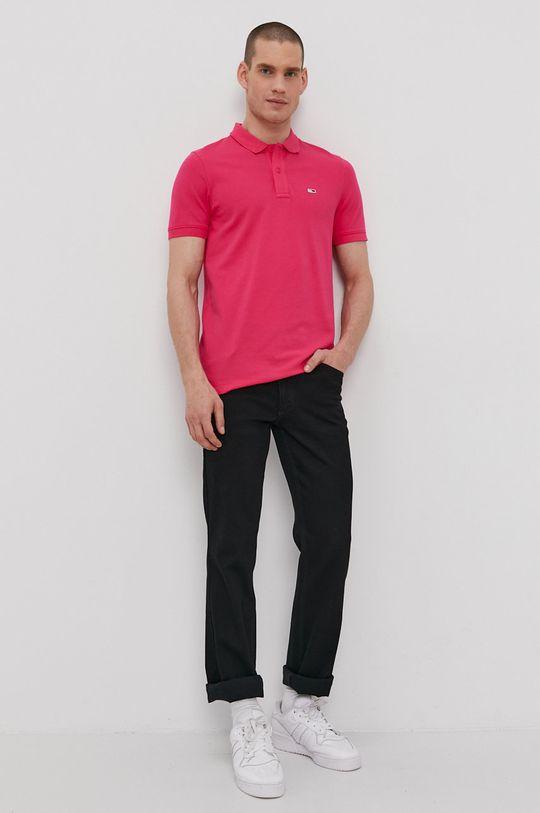 Tommy Jeans - Polo tričko orchidejová