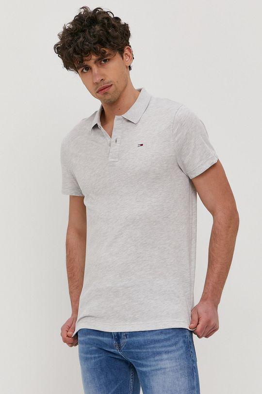 světle šedá Tommy Jeans - Polo tričko Pánský