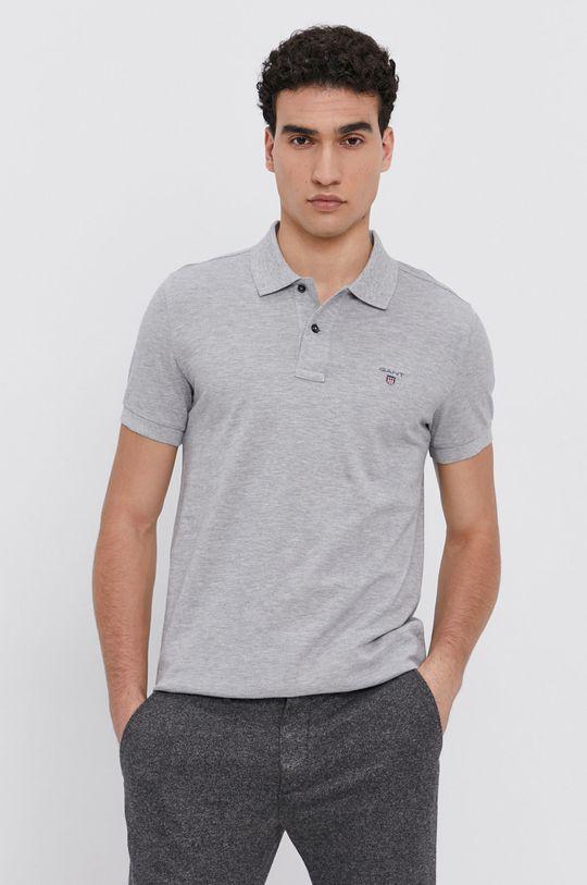 světle šedá Gant - Polo tričko Pánský