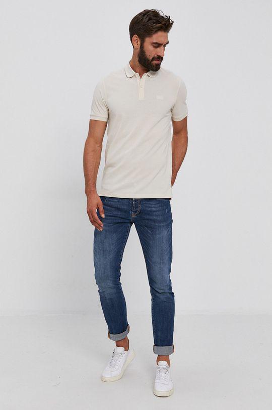 Boss - Polo tričko krémová
