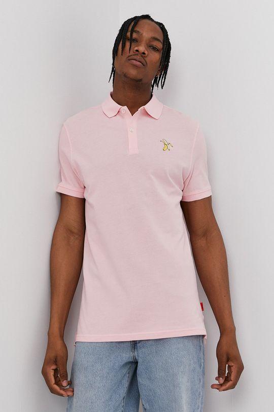 pastelowy różowy John Frank - Polo Męski