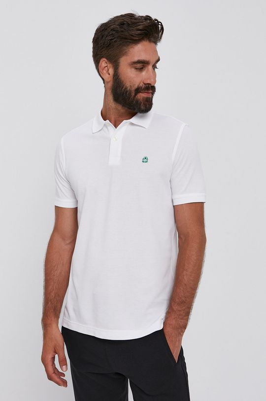 biały United Colors of Benetton - Polo Męski