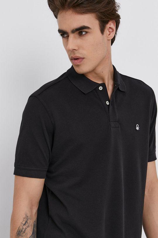 čierna United Colors of Benetton - Polo tričko
